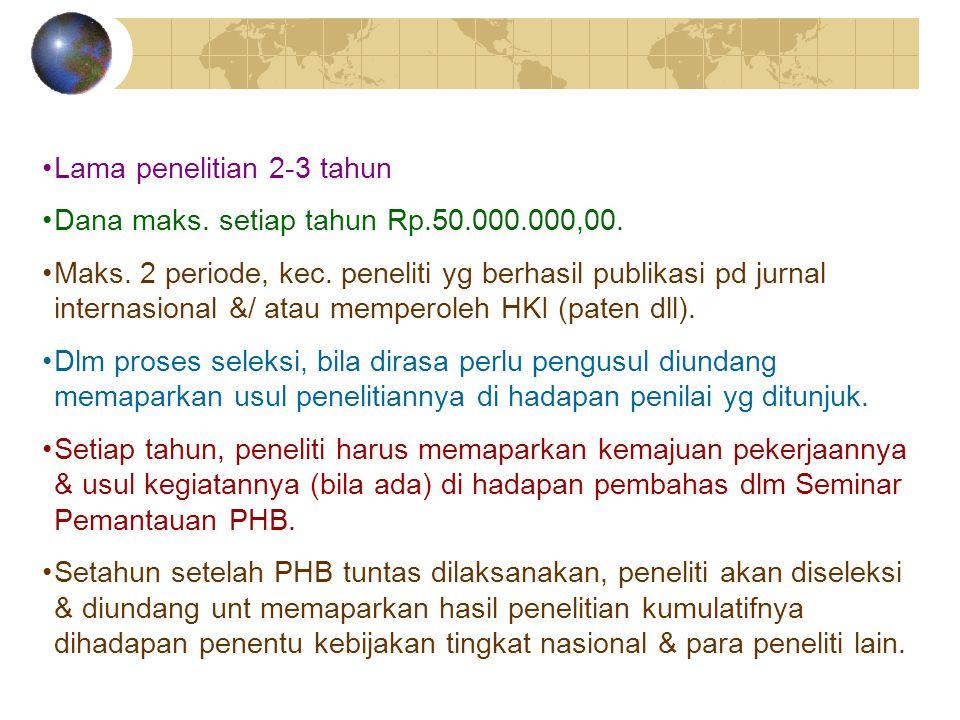 Lama penelitian 2-3 tahun Dana maks. setiap tahun Rp.50.000.000,00. Maks. 2 periode, kec. peneliti yg berhasil publikasi pd jurnal internasional &/ at