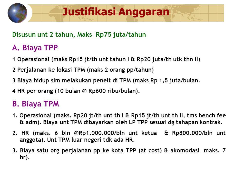 Disusun unt 2 tahun, Maks Rp75 juta/tahun A. Biaya TPP 1 Operasional (maks Rp15 jt/th unt tahun I & Rp20 juta/th utk thn II) 2 Perjalanan ke lokasi TP