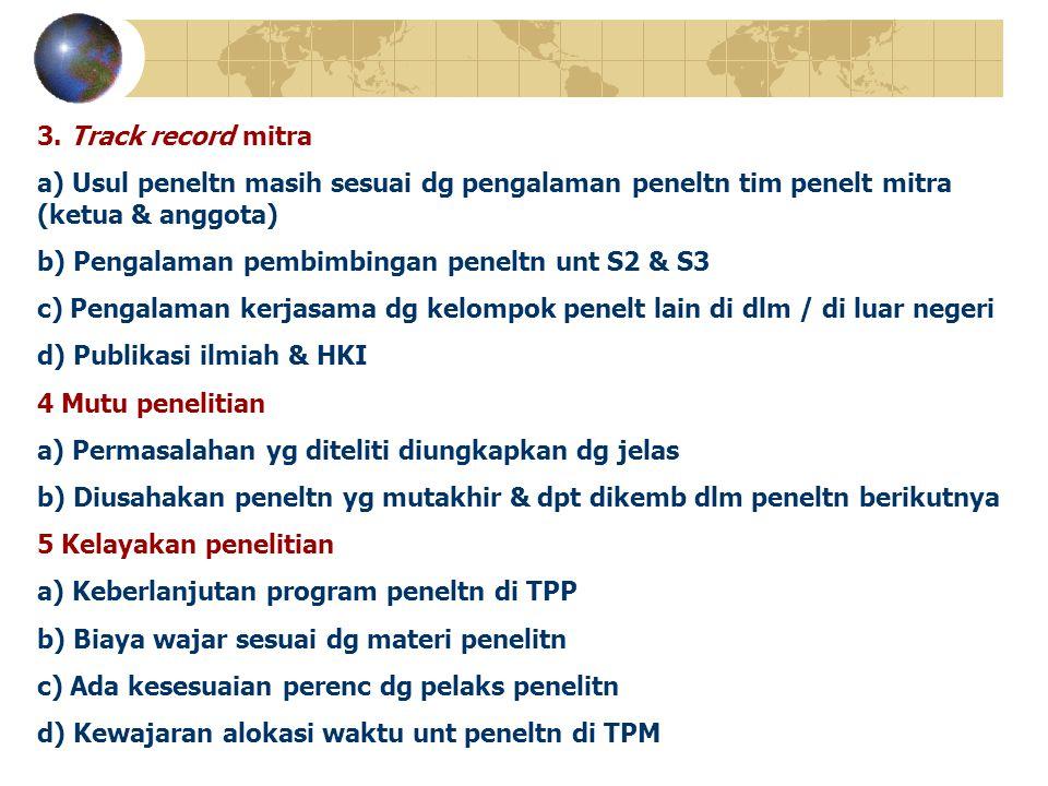 3. Track record mitra a) Usul peneltn masih sesuai dg pengalaman peneltn tim penelt mitra (ketua & anggota) b) Pengalaman pembimbingan peneltn unt S2