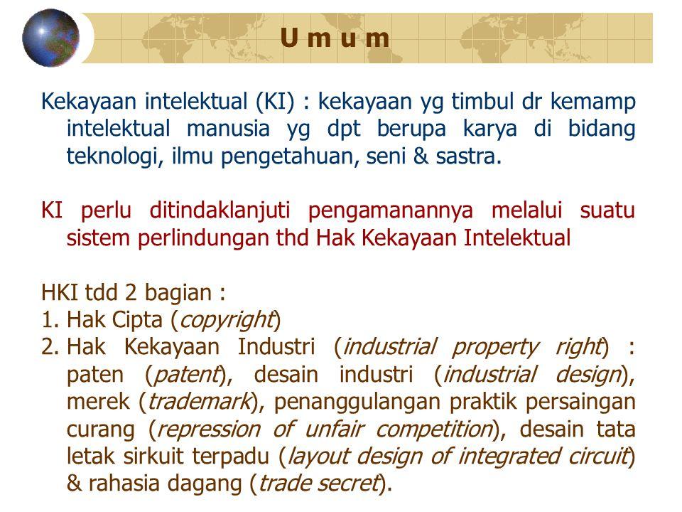 Kekayaan intelektual (KI) : kekayaan yg timbul dr kemamp intelektual manusia yg dpt berupa karya di bidang teknologi, ilmu pengetahuan, seni & sastra.