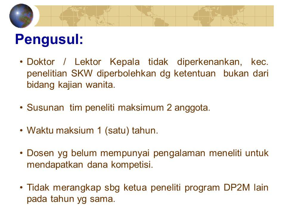 Pengusul: Doktor / Lektor Kepala tidak diperkenankan, kec. penelitian SKW diperbolehkan dg ketentuan bukan dari bidang kajian wanita. Susunan tim pene