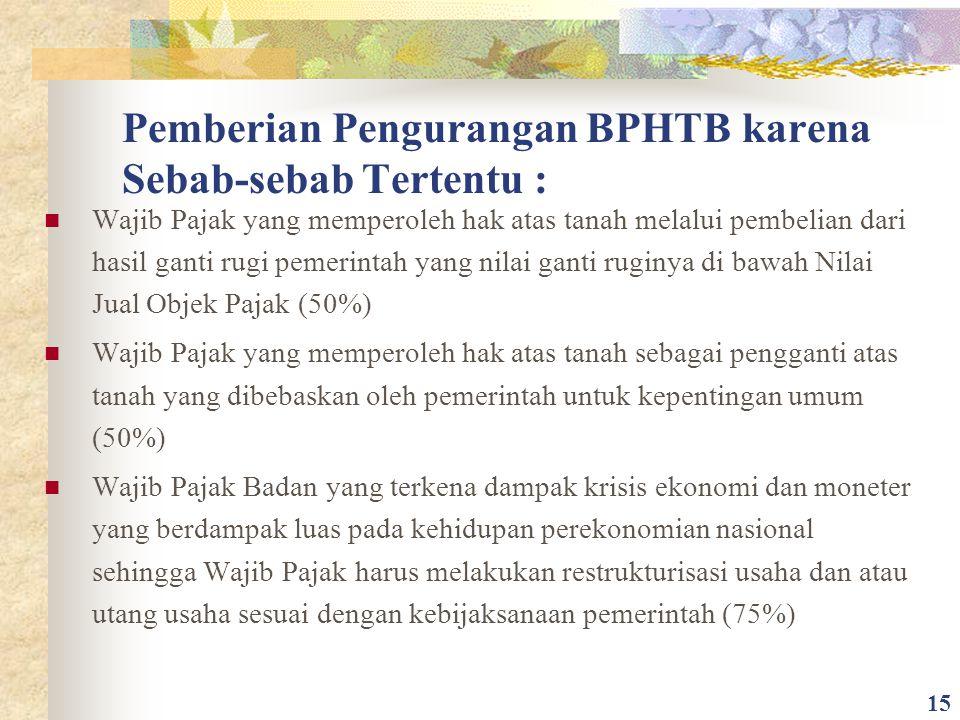 Pemberian Pengurangan BPHTB karena Sebab-sebab Tertentu : Wajib Pajak yang memperoleh hak atas tanah melalui pembelian dari hasil ganti rugi pemerinta
