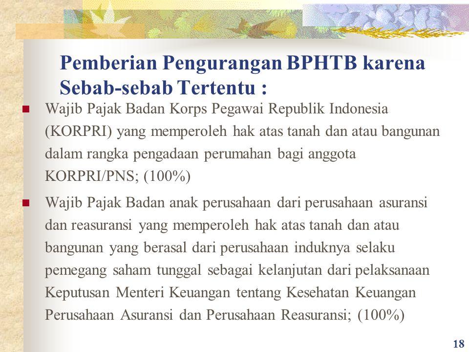 Pemberian Pengurangan BPHTB karena Sebab-sebab Tertentu : Wajib Pajak Badan Korps Pegawai Republik Indonesia (KORPRI) yang memperoleh hak atas tanah d