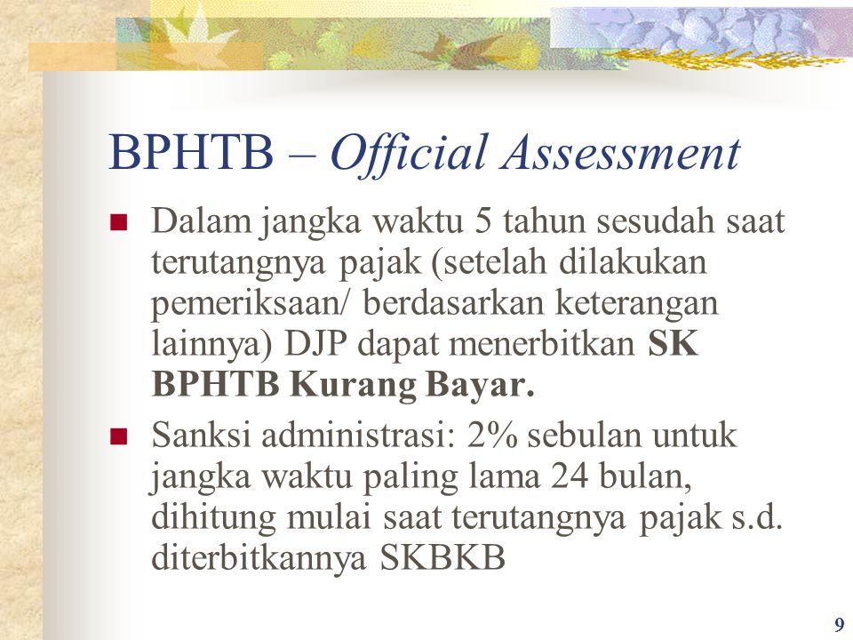 BPHTB – Official Assessment Dalam jangka waktu 5 tahun sesudah saat terutangnya pajak (setelah dilakukan pemeriksaan/ berdasarkan keterangan lainnya)