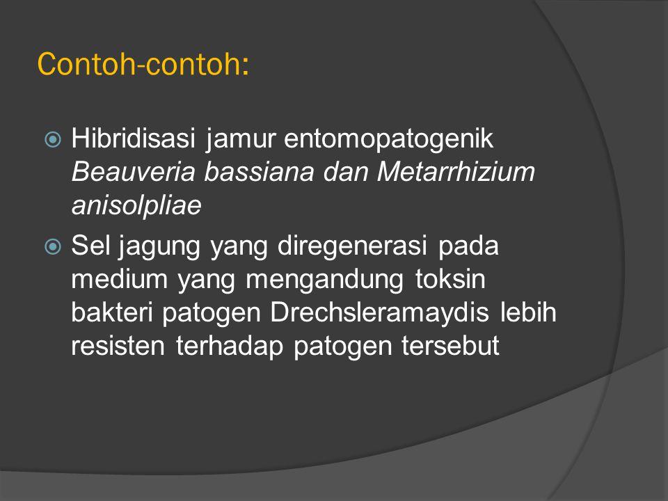 Contoh-contoh:  Hibridisasi jamur entomopatogenik Beauveria bassiana dan Metarrhizium anisolpliae  Sel jagung yang diregenerasi pada medium yang mengandung toksin bakteri patogen Drechsleramaydis lebih resisten terhadap patogen tersebut