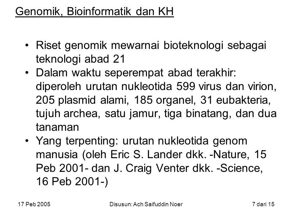 17 Peb 2005Disusun: Ach Saifuddin Noer8 dari 15 Genomik, Bioinformatik dan KH Genom manusia: ~ 2,9 miliar pasang basa (megabasa) dan 30.000-40.000 gen protein Beberapa genom penting lainnya: genom padi (April 2002), genom parasit dan nyamuk malaria (Oktober 2002), genom lalat buah (Maret 2000), dan genom bakteri TBC (Nop 1998)