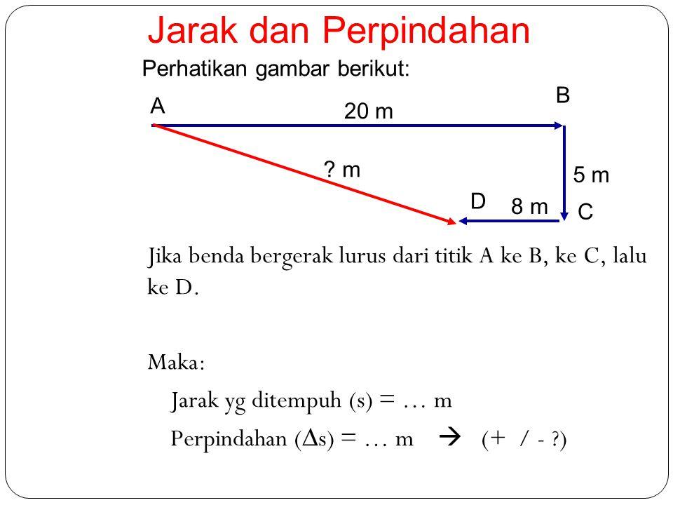 Jika benda bergerak lurus dari titik A ke B, ke C, lalu ke D.