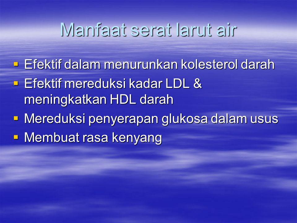 Manfaat serat larut air  Efektif dalam menurunkan kolesterol darah  Efektif mereduksi kadar LDL & meningkatkan HDL darah  Mereduksi penyerapan glukosa dalam usus  Membuat rasa kenyang