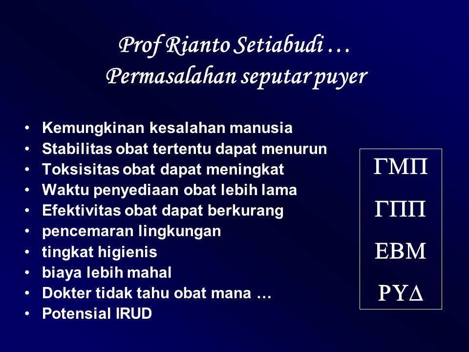 Prof Rianto Setiabudi … Permasalahan seputar puyer Kemungkinan kesalahan manusia Stabilitas obat tertentu dapat menurun Toksisitas obat dapat meningka