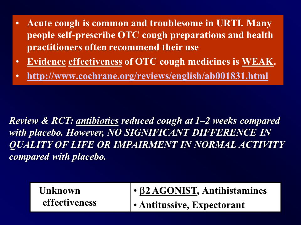 Acute cough is common and troublesome in URTI. Many people self-prescribe OTC cough preparations and health practitioners often recommend their use Ev