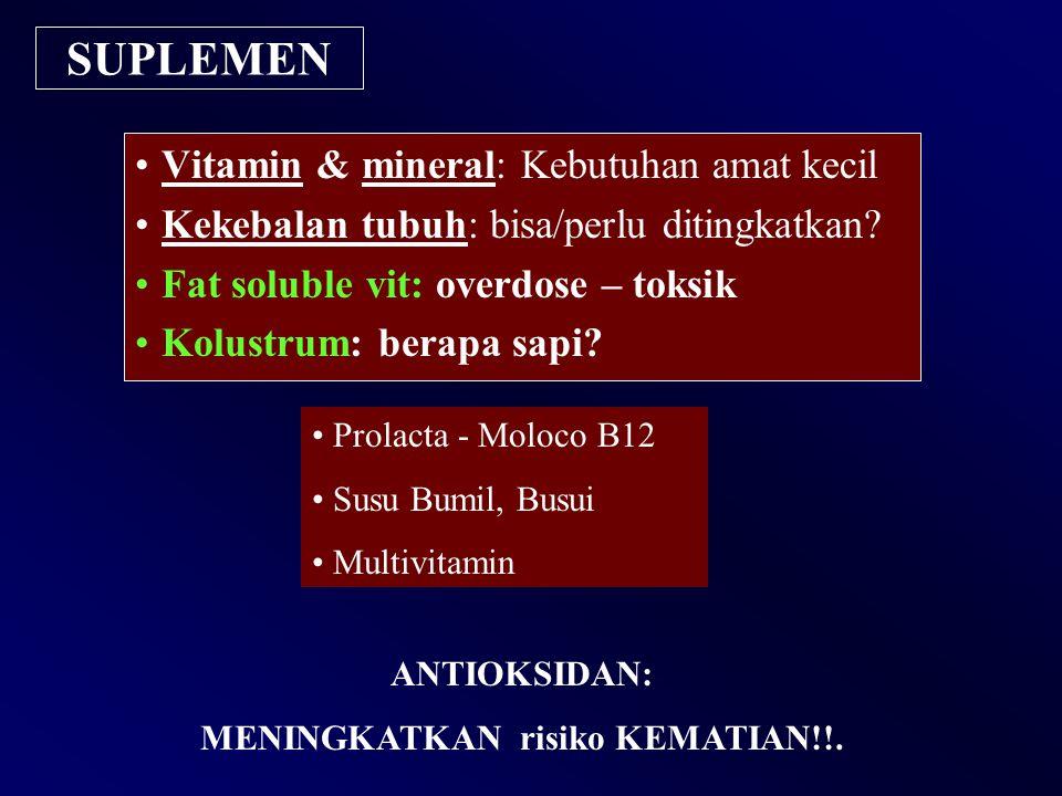 SUPLEMEN ANTIOKSIDAN: MENINGKATKAN risiko KEMATIAN!!. Vitamin & mineral: Kebutuhan amat kecil Kekebalan tubuh: bisa/perlu ditingkatkan? Fat soluble vi