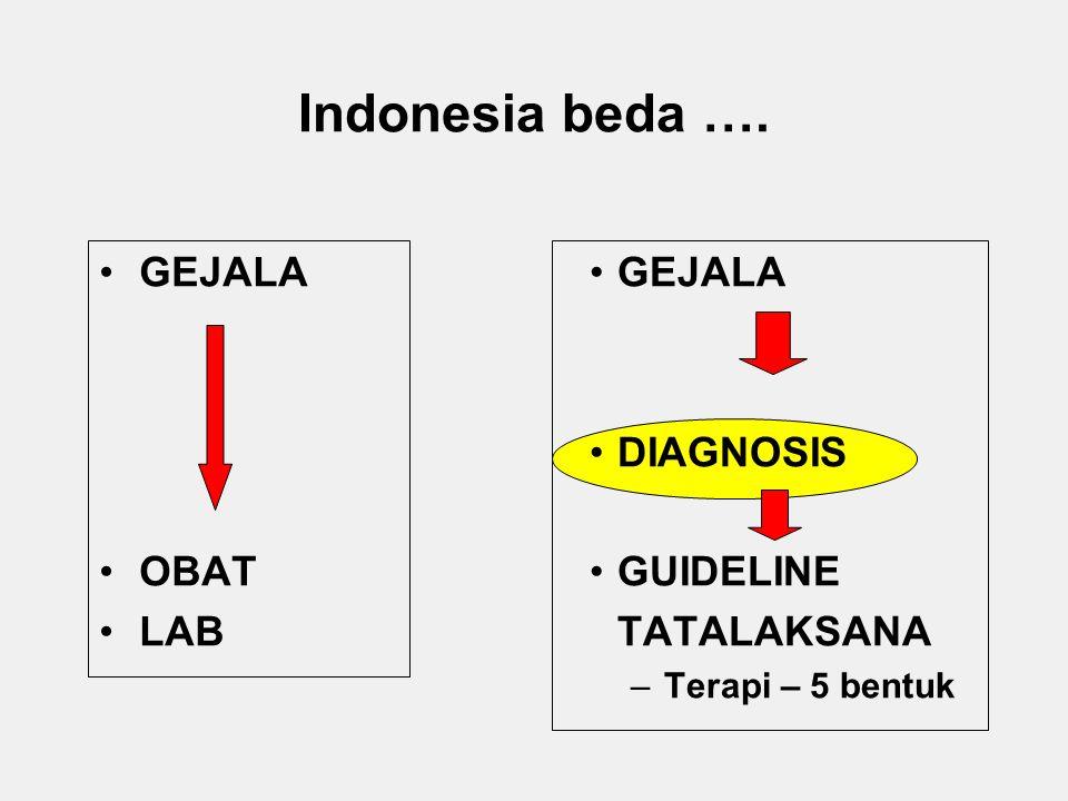 Indonesia beda …. GEJALA DIAGNOSIS GUIDELINE TATALAKSANA –Terapi – 5 bentuk GEJALA OBAT LAB