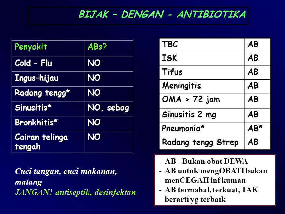 PenyakitABs? Cold – Flu NO Ingus–hijauNO Radang tengg* NO Sinusitis* NO, sebag Bronkhitis*NO Cairan telinga tengah NO BIJAK – DENGAN - ANTIBIOTIKA TBC