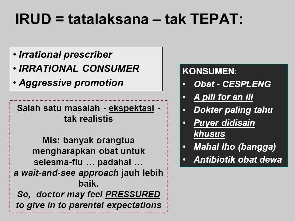 IRUD = tatalaksana – tak TEPAT: KONSUMEN: Obat - CESPLENG A pill for an ill Dokter paling tahu Puyer didisain khusus Mahal lho (bangga) Antibiotik oba