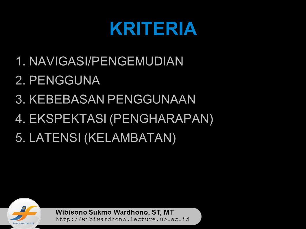 Wibisono Sukmo Wardhono, ST, MT http://wibiwardhono.lecture.ub.ac.id KRITERIA 1.