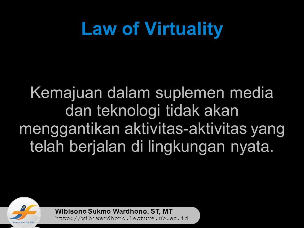 Wibisono Sukmo Wardhono, ST, MT http://wibiwardhono.lecture.ub.ac.id Law of Virtuality Kemajuan dalam suplemen media dan teknologi tidak akan menggantikan aktivitas-aktivitas yang telah berjalan di lingkungan nyata.