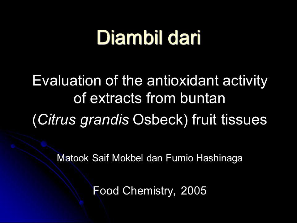 Diambil dari Evaluation of the antioxidant activity of extracts from buntan (Citrus grandis Osbeck) fruit tissues Matook Saif Mokbel dan Fumio Hashinaga Food Chemistry, 2005