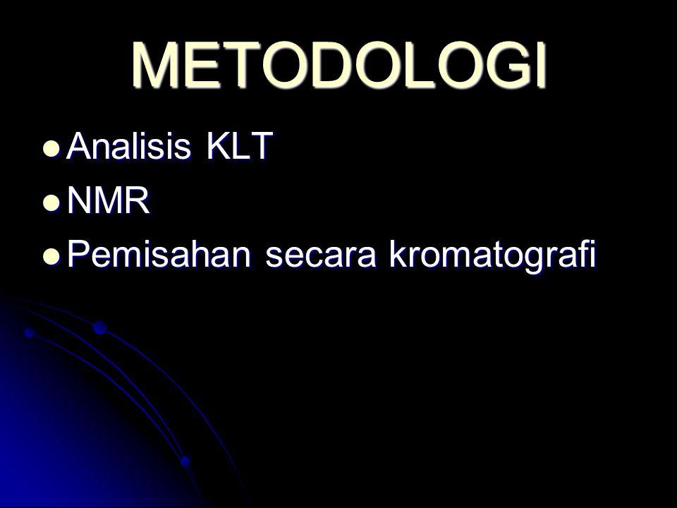 METODOLOGI Analisis KLT Analisis KLT NMR NMR Pemisahan secara kromatografi Pemisahan secara kromatografi