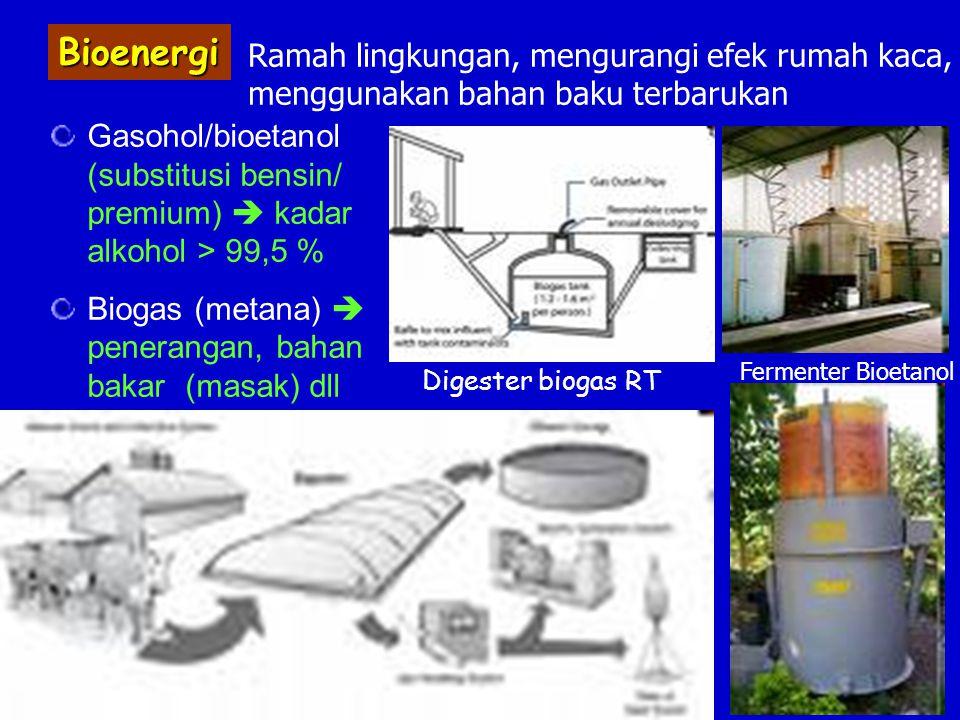  Bioetanol Kegunaan : Sebagai bahan bakar, pelarut, bahan baku industri Bahan Baku : Bahan Baku : - Bahan yang mengandung gula (molase dll) - Bahan yang mengandung pati (tapioka, jagung dll) - Bahan yang mengandung selulosa (kayu, jerami, tandan sawit dll)  perlu dideliginifikasi  dihidrolisis  gula  etanol  perlu dideliginifikasi  dihidrolisis  gula  etanol Mikroorganisme : Saccharomyces cerevisiae  paling sering digunakan Saccharomyces cerevisiae  paling sering digunakan khamir Schizosaccharomyces pombe Kluyveromyces fragilis Kluyveromyces fragilis bakteriZymomonas mobilis bakteriZymomonas mobilis