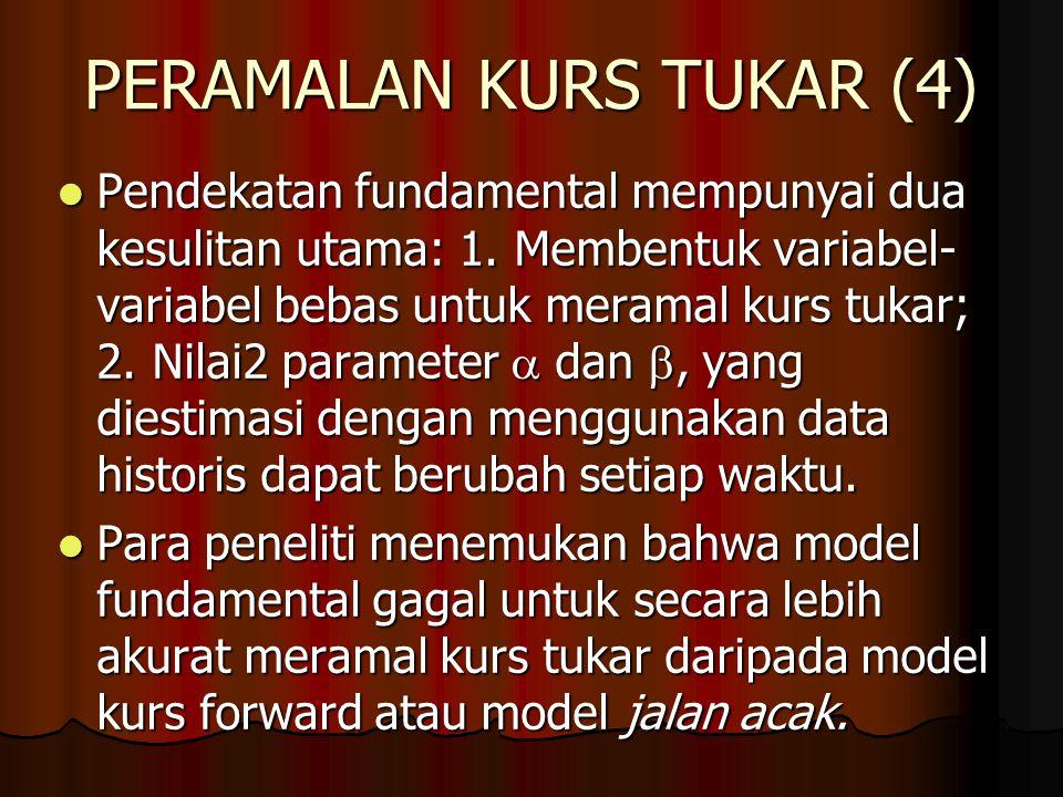 PERAMALAN KURS TUKAR (3) Pendekatan fundamental untuk kurs valas menggunakan model yang bervariasi. Pendekatan fundamental untuk kurs valas menggunaka
