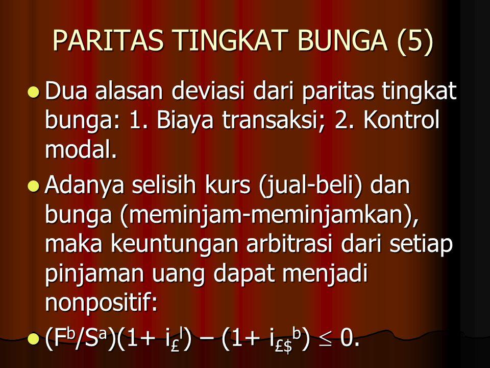 PARITAS TINGKAT BUNGA (4) Formulasi hubungan IRP dalam rumus kurs tukar spot: S = [(1+i £ )/(1+i $ )] F. Formulasi hubungan IRP dalam rumus kurs tukar