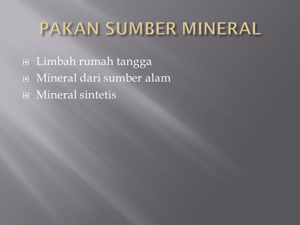  Limbah rumah tangga  Mineral dari sumber alam  Mineral sintetis