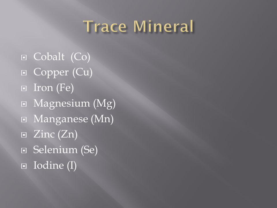  Cobalt (Co)  Copper (Cu)  Iron (Fe)  Magnesium (Mg)  Manganese (Mn)  Zinc (Zn)  Selenium (Se)  Iodine (I)