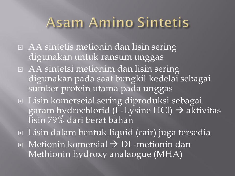  AA sintetis metionin dan lisin sering digunakan untuk ransum unggas  AA sintetsi metionim dan lisin sering digunakan pada saat bungkil kedelai sebagai sumber protein utama pada unggas  Lisin komerseial sering diproduksi sebagai garam hydrochlorid (L-Lysine HCl)  aktivitas lisin 79% dari berat bahan  Lisin dalam bentuk liquid (cair) juga tersedia  Metionin komersial  DL-metionin dan Methionin hydroxy analaogue (MHA)