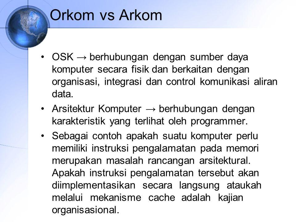 Orkom vs Arkom OSK → berhubungan dengan sumber daya komputer secara fisik dan berkaitan dengan organisasi, integrasi dan control komunikasi aliran dat