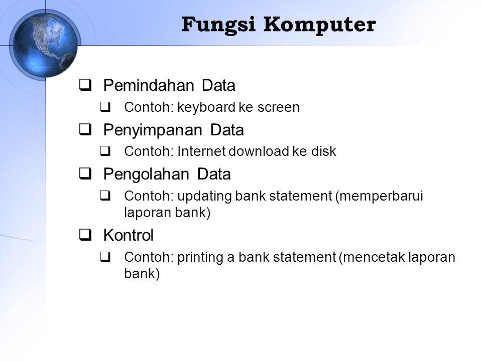 Fungsi Komputer  Pemindahan Data  Contoh: keyboard ke screen  Penyimpanan Data  Contoh: Internet download ke disk  Pengolahan Data  Contoh: upda