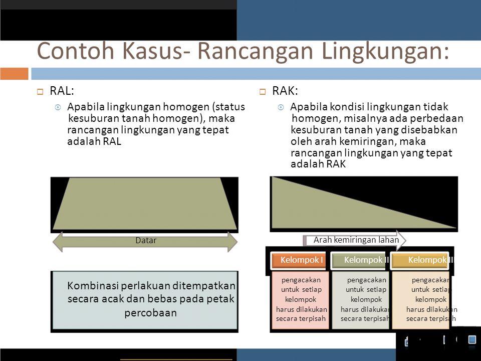 Contoh Kasus- Rancangan Lingkungan:  RAL:  Apabila lingkungan homogen (status kesuburan tanah homogen), maka rancangan lingkungan yang tepat adalah