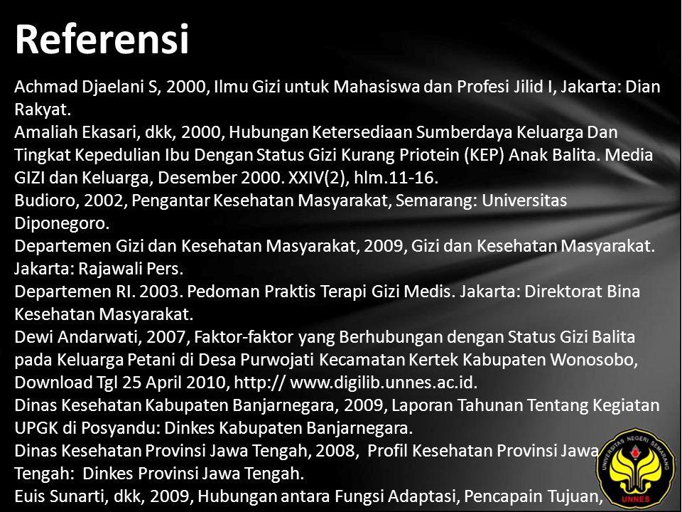 Referensi Achmad Djaelani S, 2000, Ilmu Gizi untuk Mahasiswa dan Profesi Jilid I, Jakarta: Dian Rakyat.
