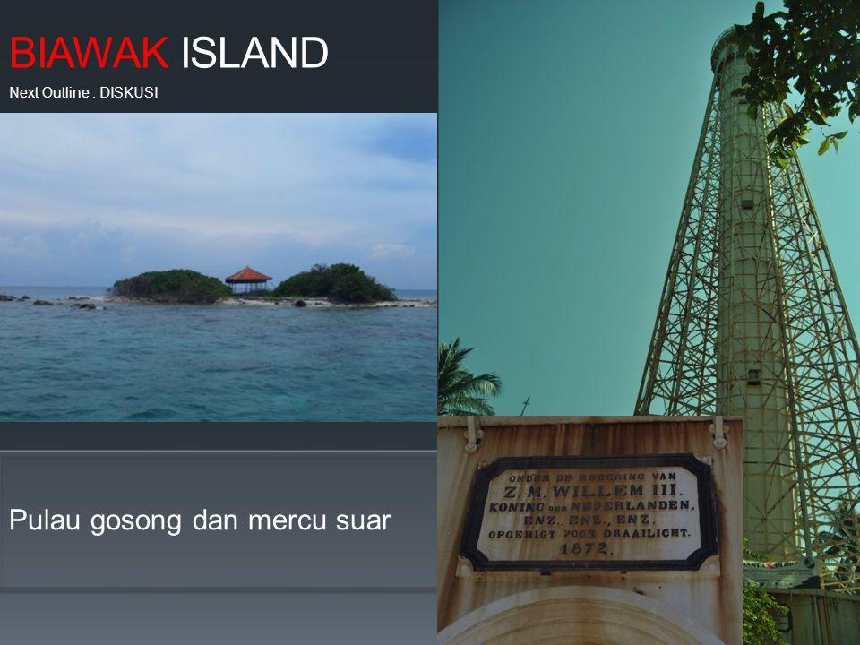 BIAWAK ISLAND Pulau gosong dan mercu suar Next Outline : DISKUSI