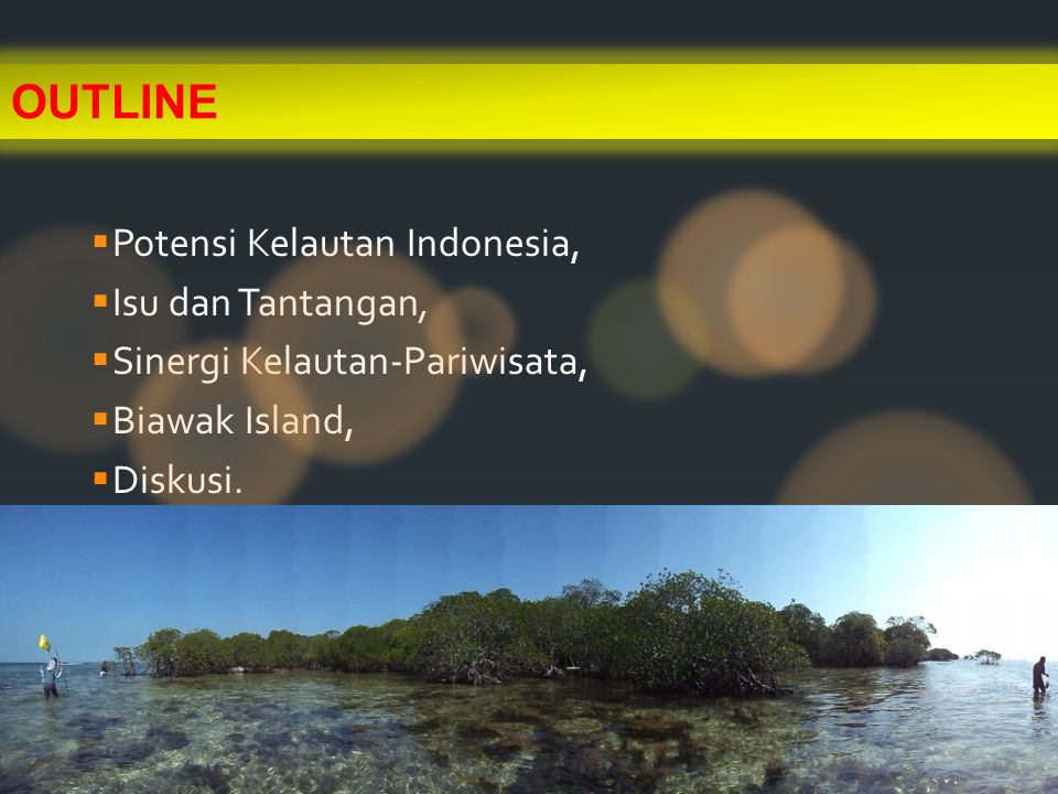 POTENSI KELAUTAN INDONESIA Next Outline : ISU DAN TANTANGAN, SINERGITAS KELAUTAN-WISATA, BIAWAK ISLAND, DISKUSI KEUNIKAN PERAIRAN INDONESIA : 1.Low Latitude; Passage 2.Basins very complex 3.Isle 4.Biodiversity