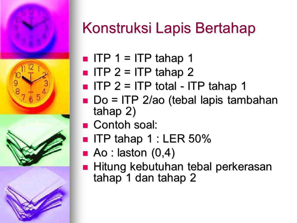 Konstruksi Lapis Bertahap ITP 1 = ITP tahap 1 ITP 1 = ITP tahap 1 ITP 2 = ITP tahap 2 ITP 2 = ITP tahap 2 ITP 2 = ITP total - ITP tahap 1 ITP 2 = ITP