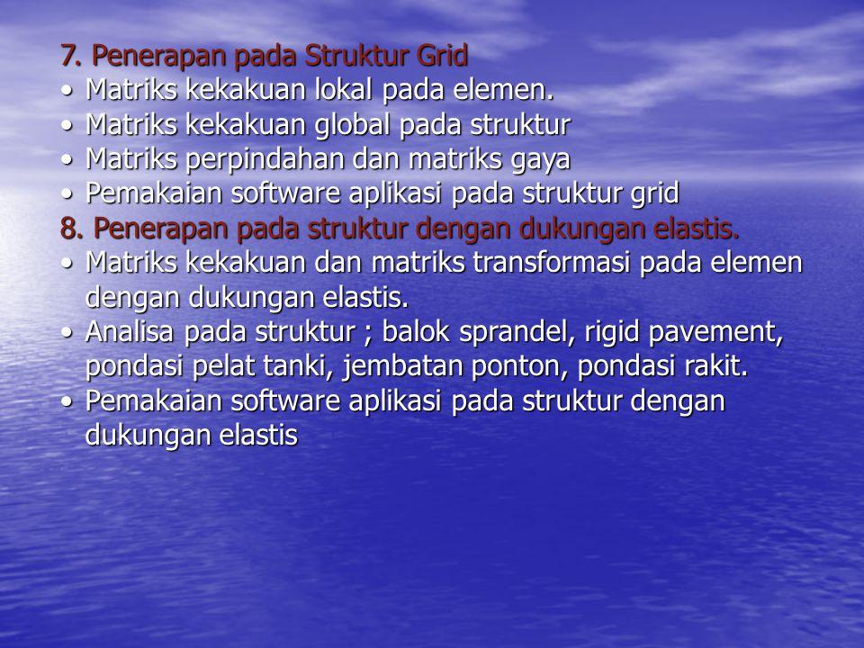 7. Penerapan pada Struktur Grid Matriks kekakuan lokal pada elemen.Matriks kekakuan lokal pada elemen. Matriks kekakuan global pada strukturMatriks ke