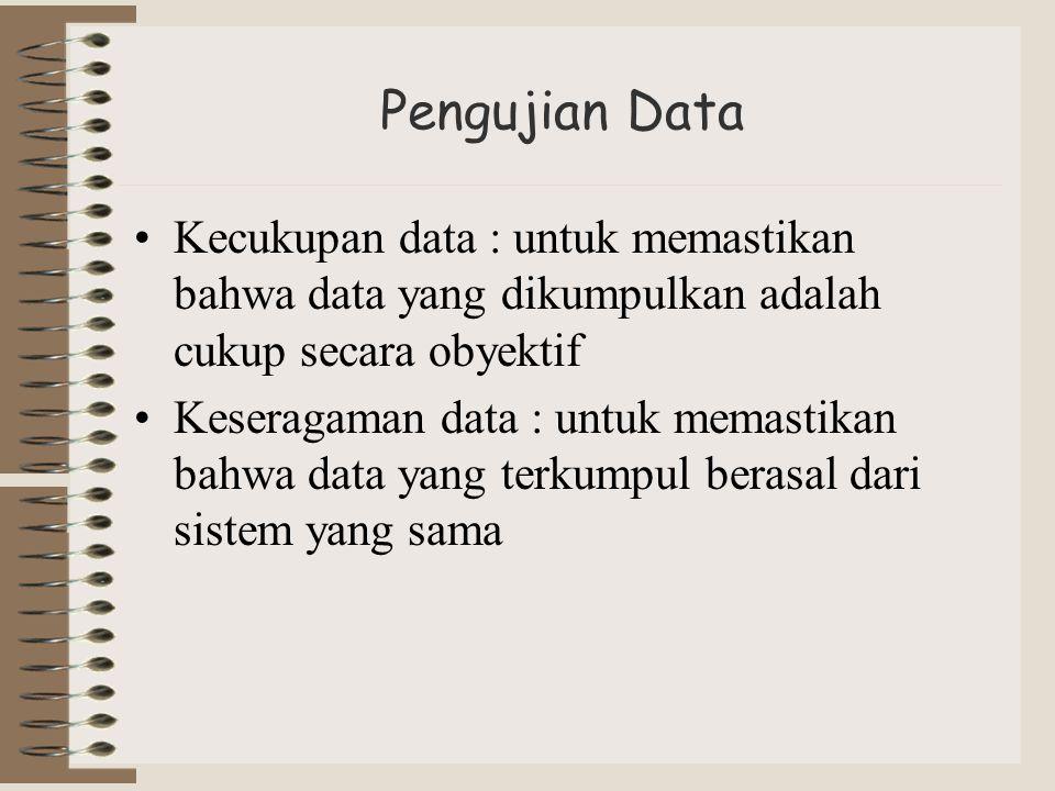 Pengujian Data Kecukupan data : untuk memastikan bahwa data yang dikumpulkan adalah cukup secara obyektif Keseragaman data : untuk memastikan bahwa da