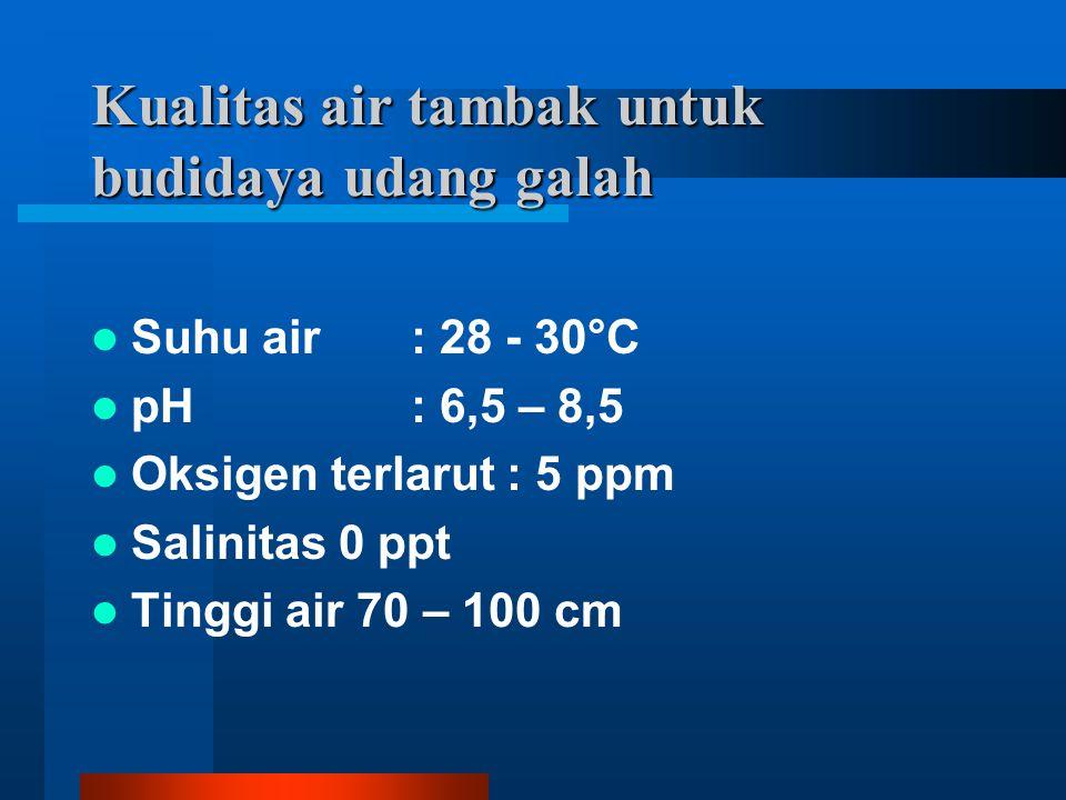 Kualitas air tambak untuk budidaya udang galah Suhu air : 28 - 30°C pH: 6,5 – 8,5 Oksigen terlarut : 5 ppm Salinitas 0 ppt Tinggi air 70 – 100 cm