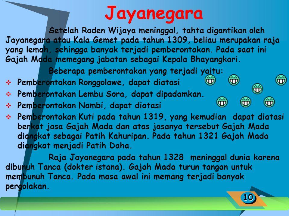Raden Wijaya Raden Wijaya adalah raja pertama yang memimpin Majapahit, bergelar Kertarajasa Jaya Wardana, ia memimpin Majapahit dari tahun 1293-1309 M