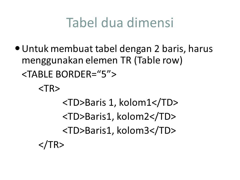 Tabel dua dimensi Untuk membuat tabel dengan 2 baris, harus menggunakan elemen TR (Table row) Baris 1, kolom1 Baris1, kolom2 Baris1, kolom3