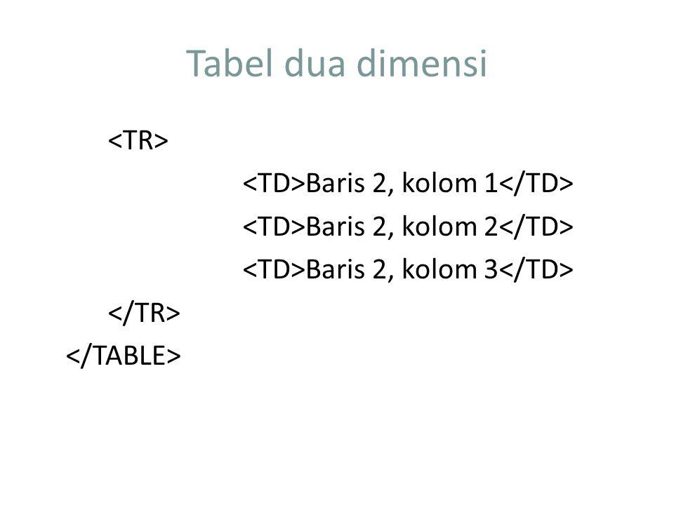 Tabel dua dimensi Baris 2, kolom 1 Baris 2, kolom 2 Baris 2, kolom 3