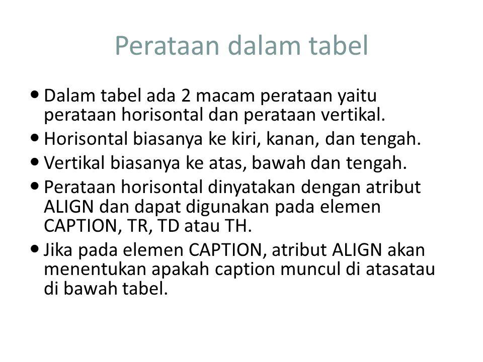 Perataan dalam tabel Dalam tabel ada 2 macam perataan yaitu perataan horisontal dan perataan vertikal.
