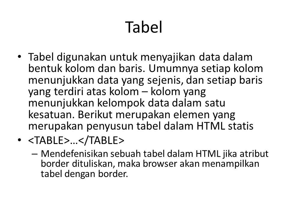Tabel Tabel digunakan untuk menyajikan data dalam bentuk kolom dan baris.