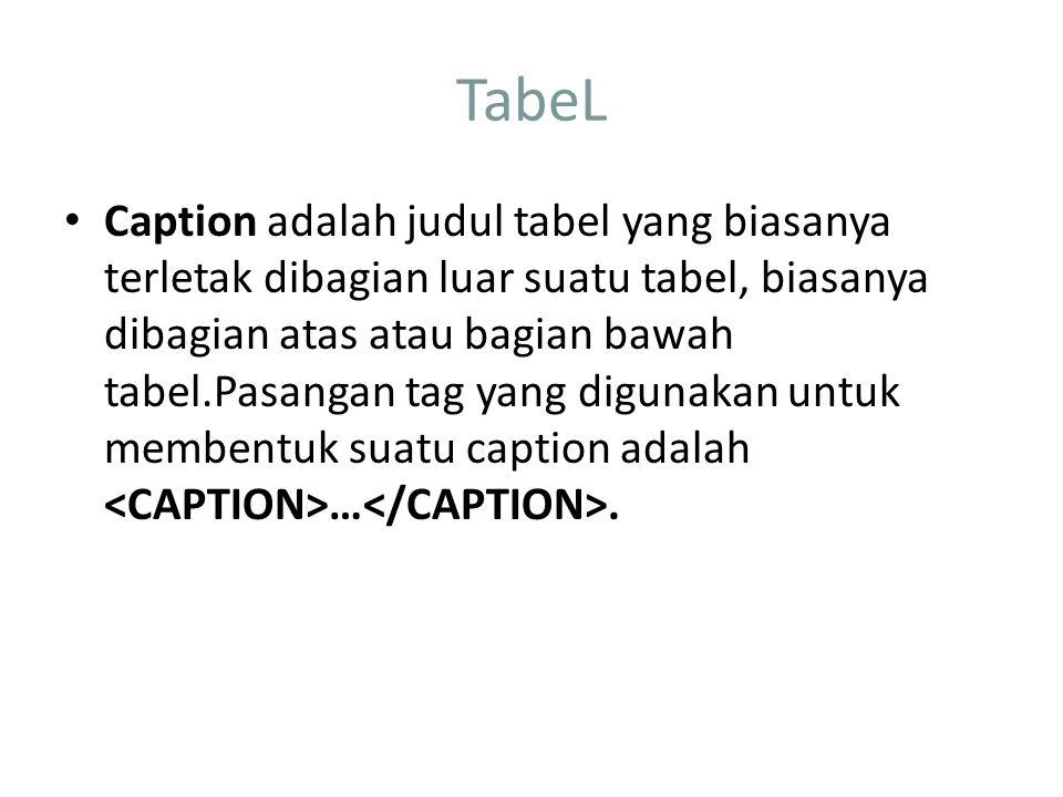 TabeL Caption adalah judul tabel yang biasanya terletak dibagian luar suatu tabel, biasanya dibagian atas atau bagian bawah tabel.Pasangan tag yang digunakan untuk membentuk suatu caption adalah ….