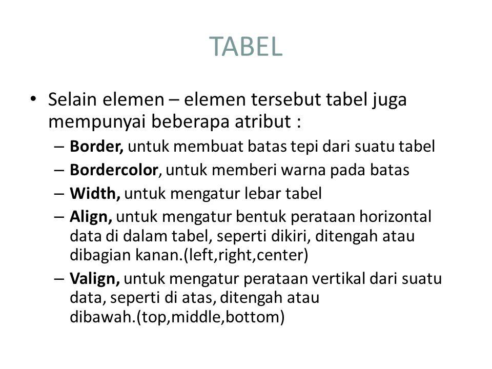 TABEL Selain elemen – elemen tersebut tabel juga mempunyai beberapa atribut : – Border, untuk membuat batas tepi dari suatu tabel – Bordercolor, untuk memberi warna pada batas – Width, untuk mengatur lebar tabel – Align, untuk mengatur bentuk perataan horizontal data di dalam tabel, seperti dikiri, ditengah atau dibagian kanan.(left,right,center) – Valign, untuk mengatur perataan vertikal dari suatu data, seperti di atas, ditengah atau dibawah.(top,middle,bottom)