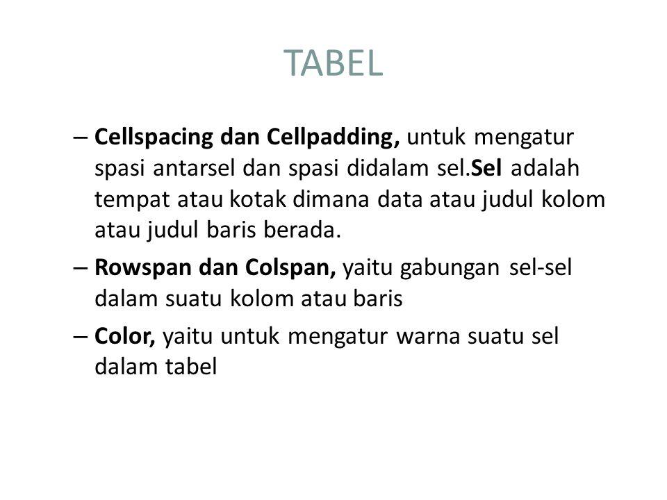 Mengatur spasi tabel Ada dua atribut yang digunakan untuk mengatur spasi dalam tabel, yaitu CELLSPACING dan CELLPADDING.