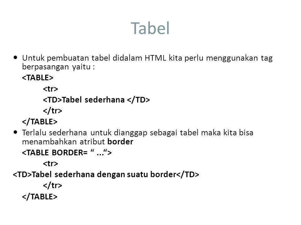 Tabel Untuk pembuatan tabel didalam HTML kita perlu menggunakan tag berpasangan yaitu : Tabel sederhana Terlalu sederhana untuk dianggap sebagai tabel maka kita bisa menambahkan atribut border Tabel sederhana dengan suatu border