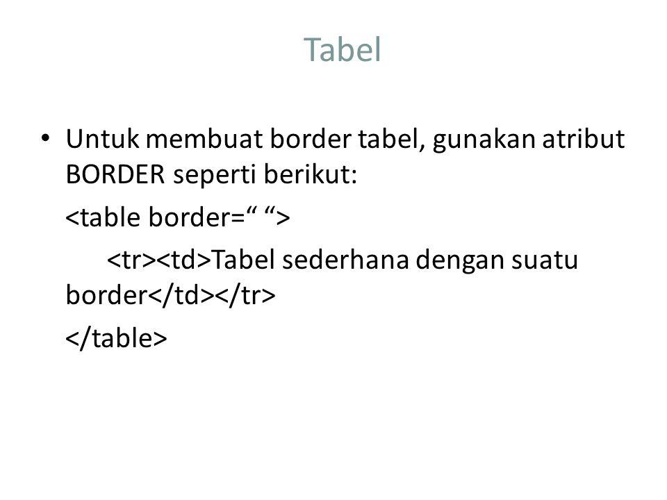 Tabel Untuk membuat border tabel, gunakan atribut BORDER seperti berikut: Tabel sederhana dengan suatu border