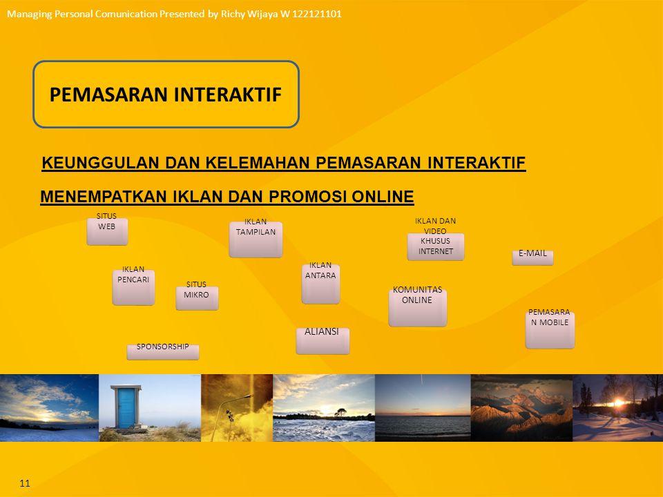 12 Managing Personal Comunication Presented by Richy Wijaya W 122121101 PEMASARAN BUZZ DAN VIRAL PEMIMPIN OPINI BLOG