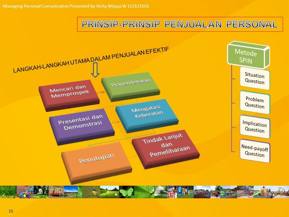 17 Managing Personal Comunication Presented by Richy Wijaya W 122121101